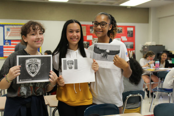 Sleepy Hollow Middle School students design a magazine cover to honor 9/11.
