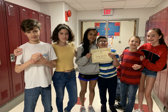 Middle School students honored for their Lunch Buddy program