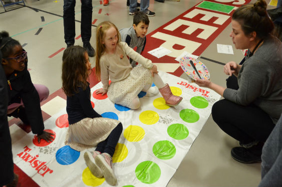 Students enjoy playing games at Family Math Night.