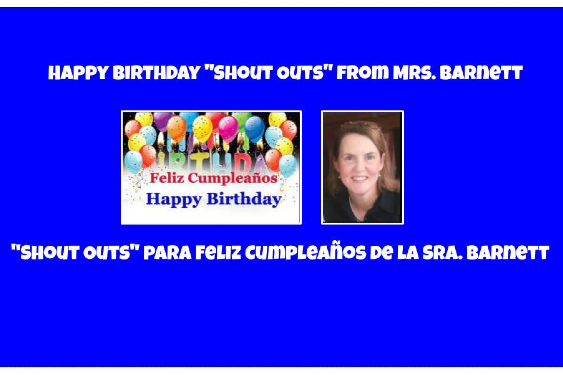 "Happy Birthday ""Shout Outs"" ~ ""Shout Outs"" para Feliz Cumpleaños"