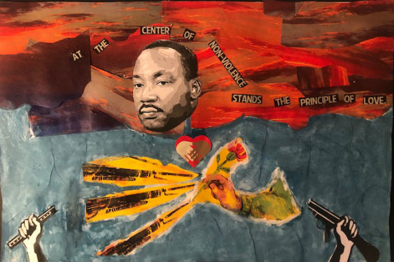 Sleepy Hollow Middle School art reflecting Dr. Martin Luther King Jr and nonviolence.