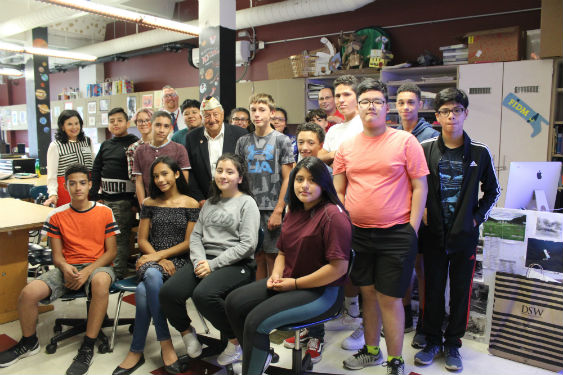 Pearl Harbor survivor Chick Galella visits Sleepy Hollow Middle School students.